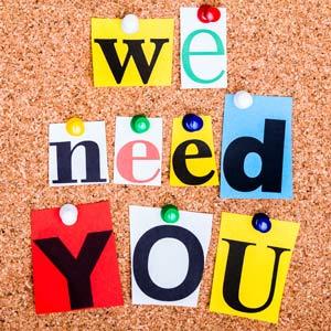 We need you volunteer