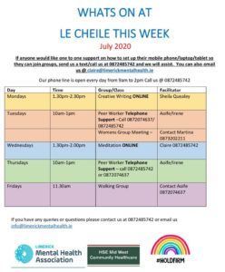 What's On at Le Chéile in July