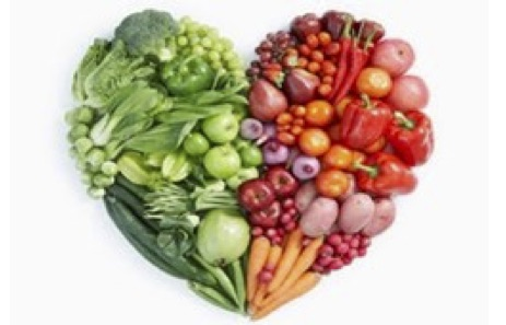 Healthy fruit and vegetables heart