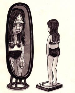 Visual representation of what somebody suffering with body dysmorphic disorder can see when they look in the mirror, sometimes this is a distorted version of themselves