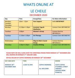 Le Chéile December Timetable