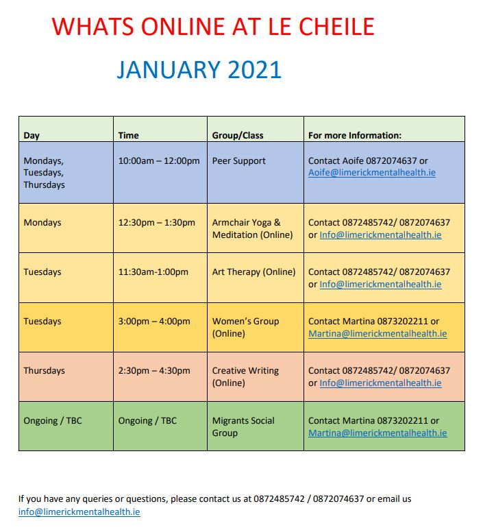 Le Chéile January Timetable
