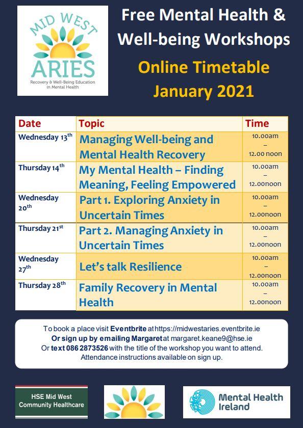 Mid-West ARIES - Free Mental Health & Wellbeing Workshops January 2021