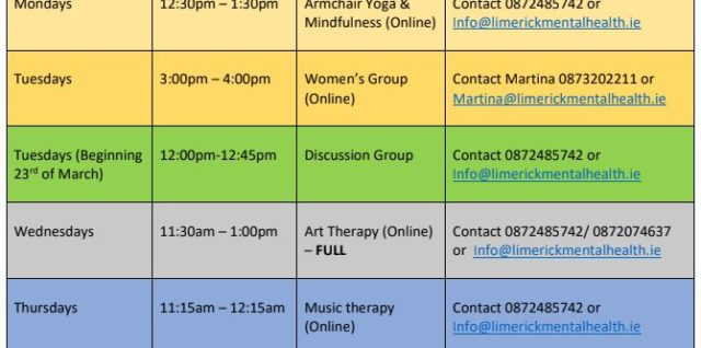 LMHA Online Classes and Groups, March 2021