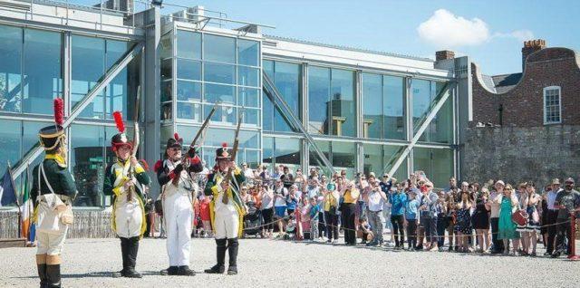 - Festival actors dressed in traditional Norman era military attire